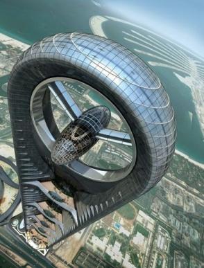 Anara Tower Dubai - massive wind turbine